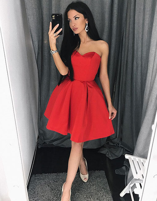 Red sweetheart neck short prom dress, homecoming dress