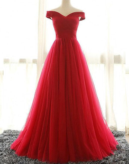 Red v neck tulle long prom dress, red evening dress
