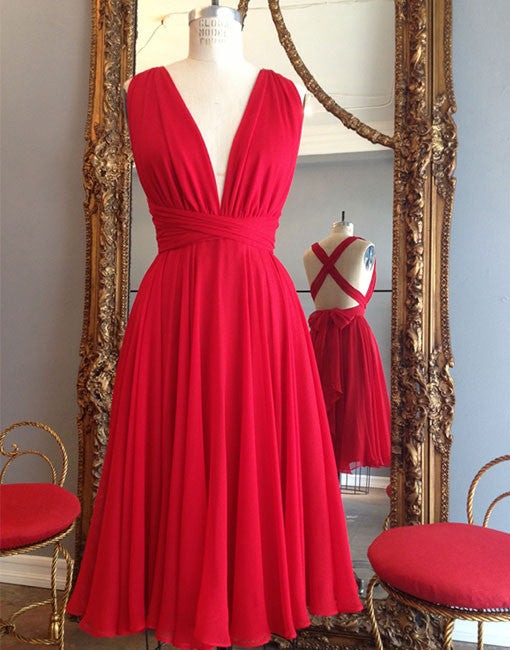 Simple red v neck chiffon short prom dress, cheap homecoming dress