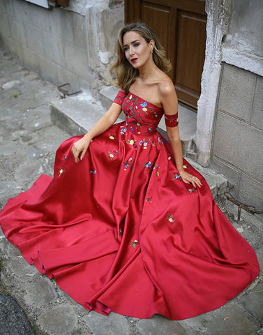 Red applique satin long prom dress, red evening dress
