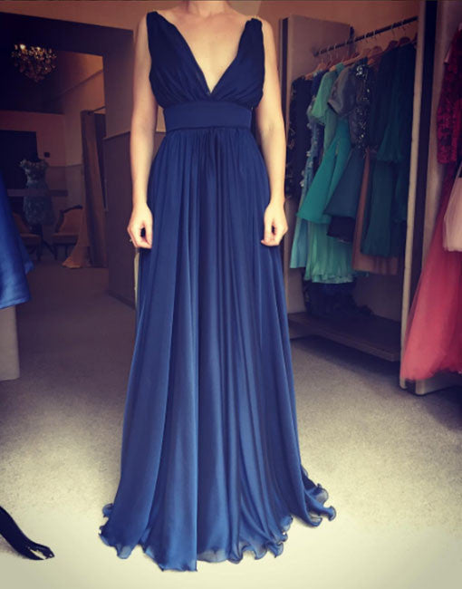 Simple navy blue v neck long prom dress, evening dress