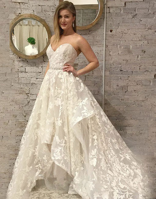 White sweetheart neck lace tulle long prom dress, evening dress
