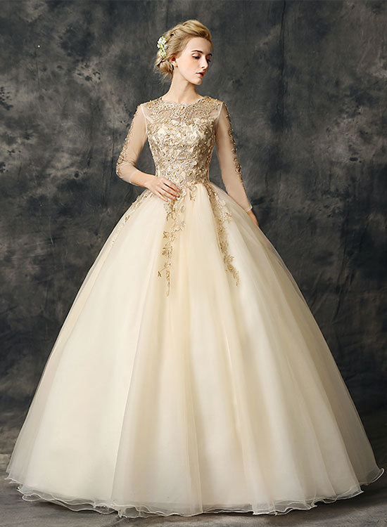 Champagne tulle lace long prom dress, formal dress