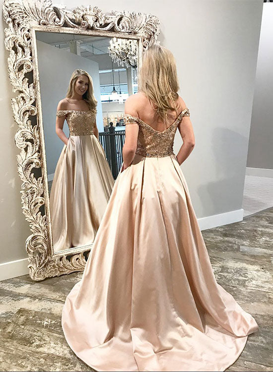Champagne satin beaded long prom dress, formal dress