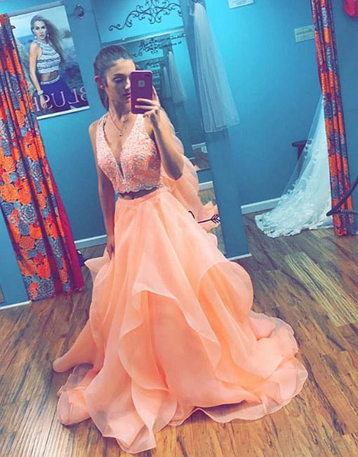 Custom made two pieces long prom dress, evening dress