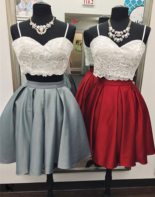 Cute two pieces lace short prom dress, homecoming dress