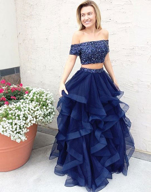 A line dark blue tulle off shoulder long prom dress, two pieces evening dress