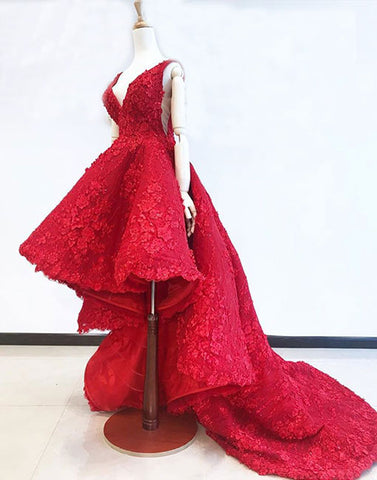 Red v neck high low lace long prom dress, red evening dress