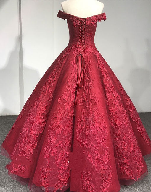 Burgundy lace off shoulder long prom dress, evening dress