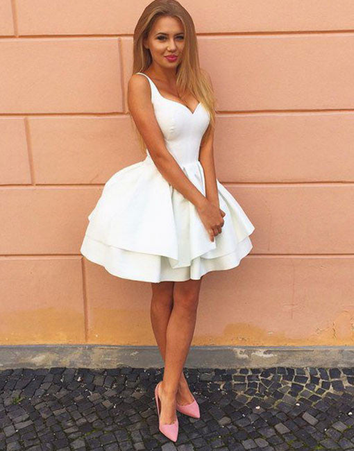 Cute A line white short prom dress, homecoming dress