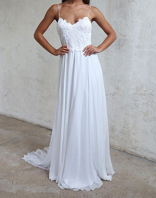 White A line lace chiffon long prom dress, white evening dress