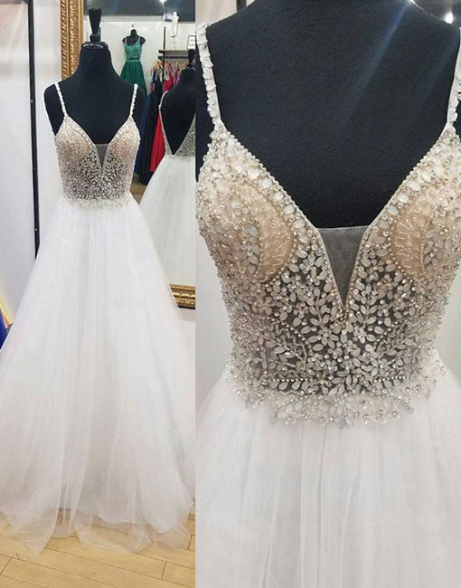 White A line beaded crystal tulle long prom dress, white evening dresses