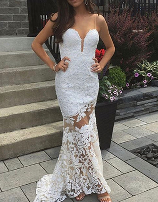 White mermaid lace long prom dress, lace evening dresses