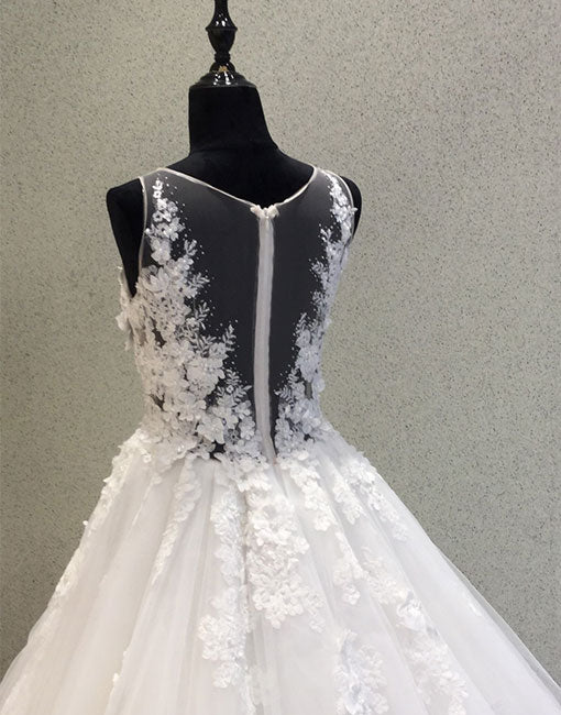 White round neck tulle applique long prom dress, wedding dress
