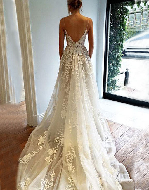 Custom made v neck spaghetti strap wedding gown, lace evening dresses