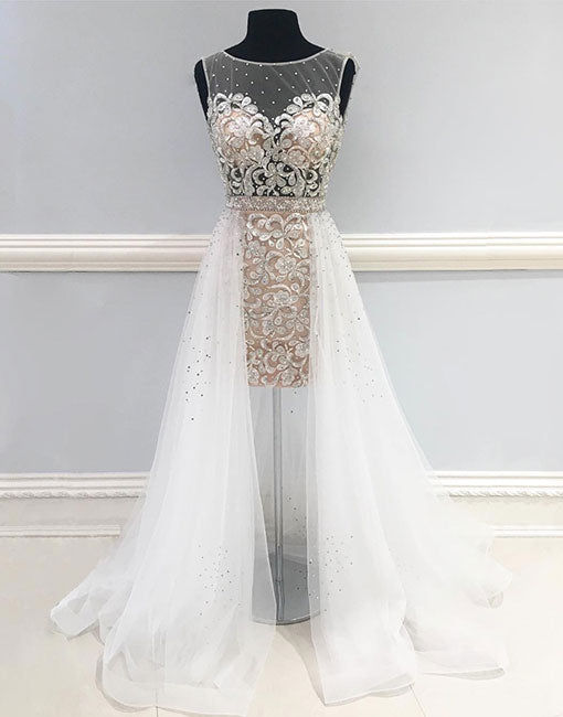 Unique white round neck long prom dress, white evening dress