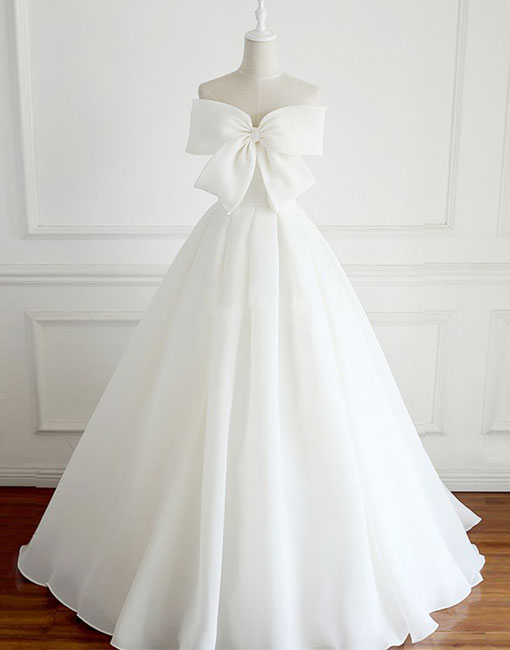 White bow long prom dress, white evening dress
