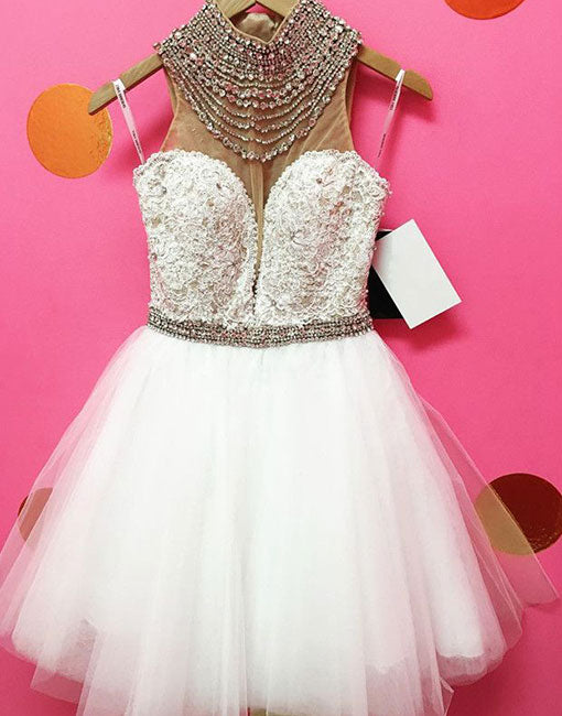 White tulle lace short prom dress, homecoming dress