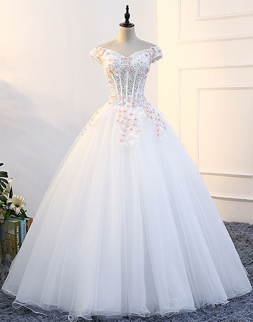 White v neck tulle lace long prom gown, white evening dress