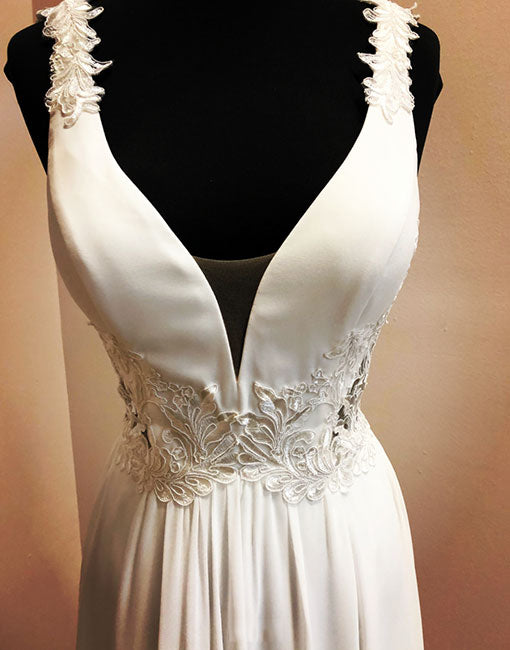 White v neck chiffon lace long prom dress, white evening dress