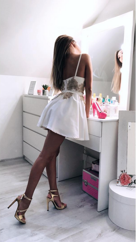 Cute v neck short prom dress, white evening dress