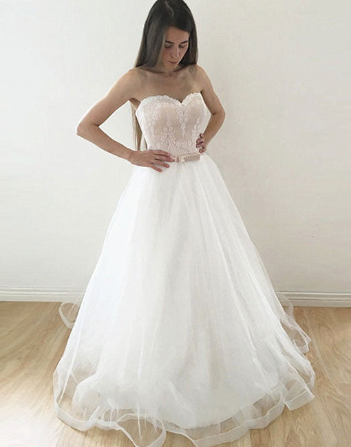 White sweetheart neck lace tulle long prom dress, wedding dresses