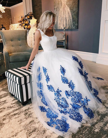 White tulle and blue lace long prom dress, evening dress