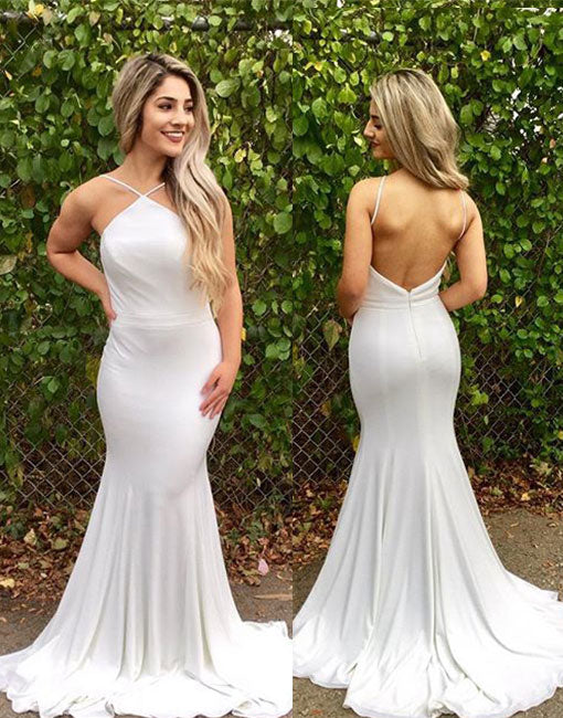White mermaid backless long prom dress, white evening dress