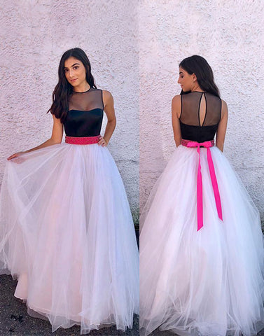 Unique black and white tulle long prom dress, evening dress