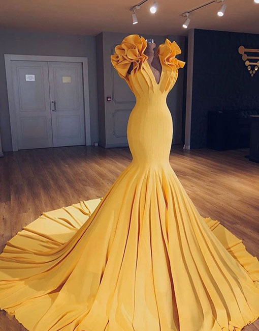 Unique yellow v neck long prom gown, evening dress