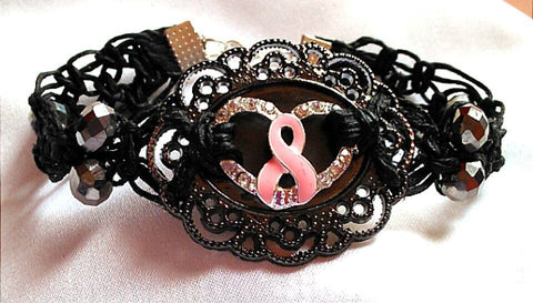 Cancer Support Pink Ribbon Medallion Bracelet