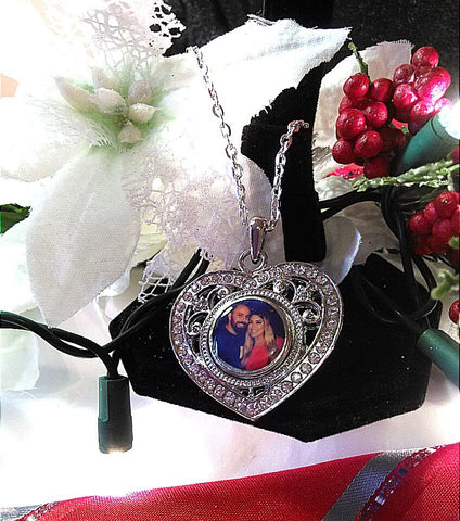 Personalized Photo Gift Heart Necklace with Bling