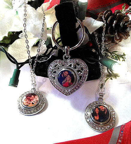 Personalized Photo Necklace Mini Gift with Bling