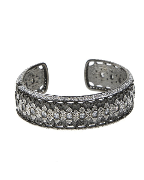 Gunmetal Plated Oval CZ Narrow Cuff
