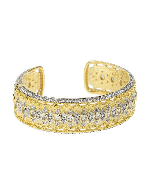 Gold Plated Oval CZ Narrow Cuff