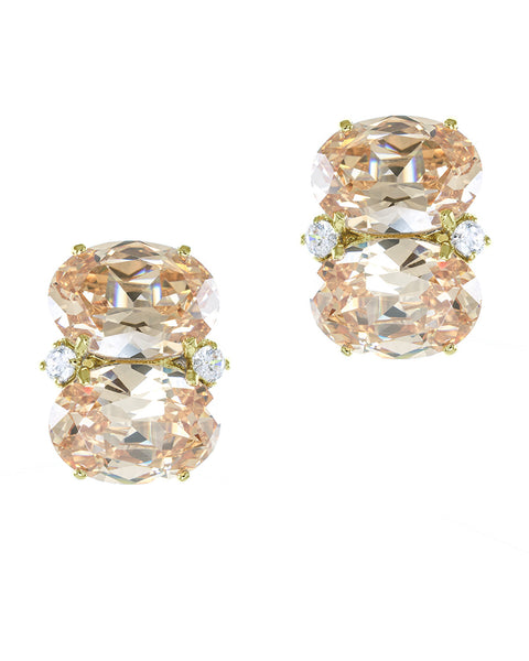 Champagne Double Oval Earrings