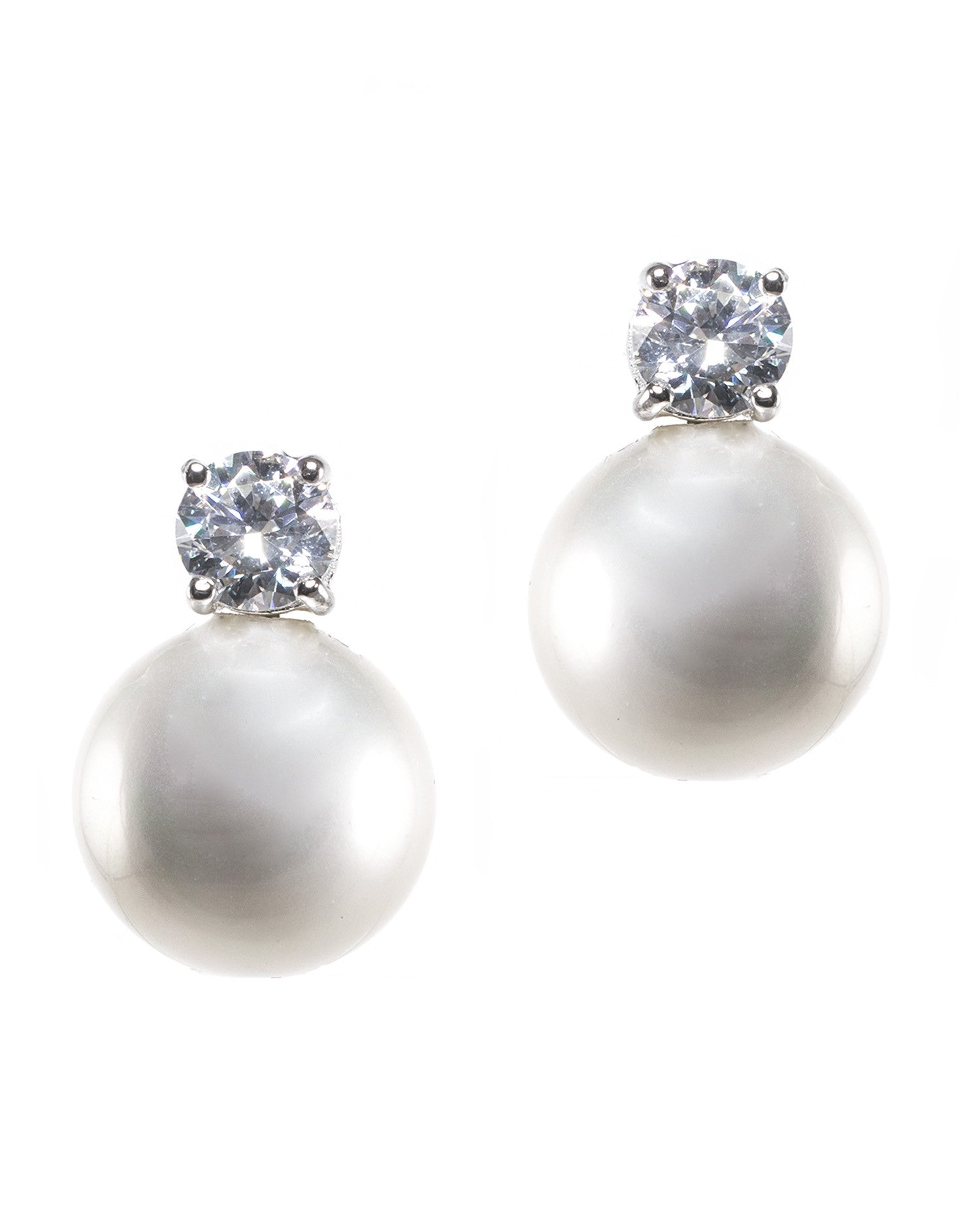 Classic Pearl and CZ Earrings