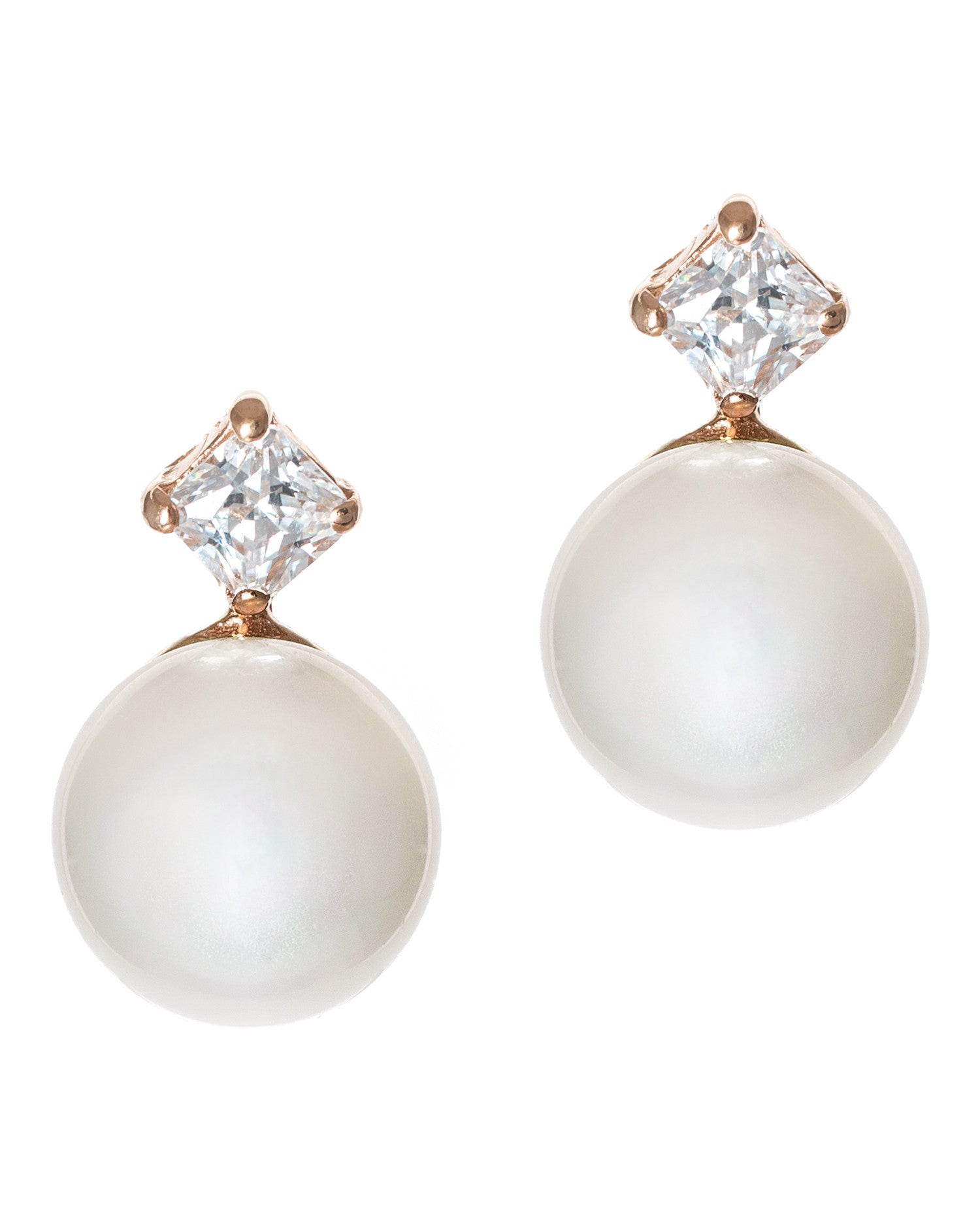 Petite Pearl and CZ Earrings
