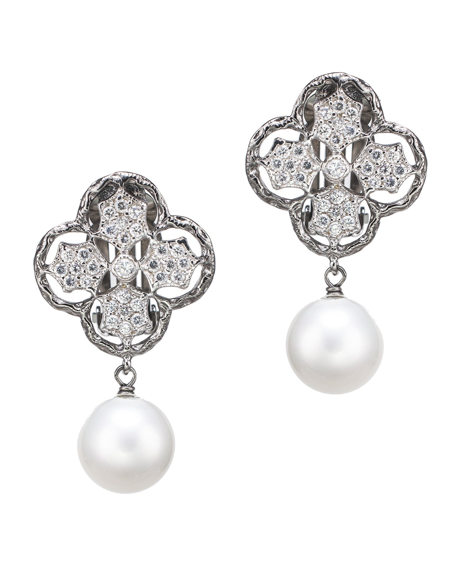 Classic Clover and Pearl Clip Earrings