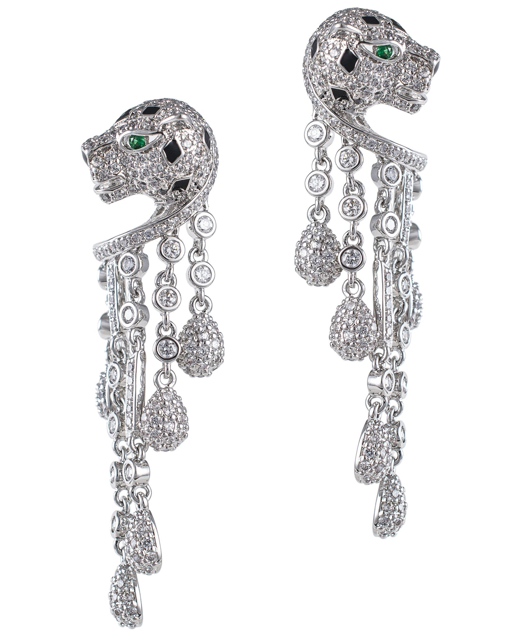Pave Panther Fringe Earrings