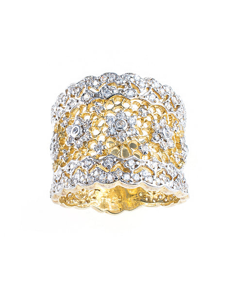 Gold Floral Filigree Ring