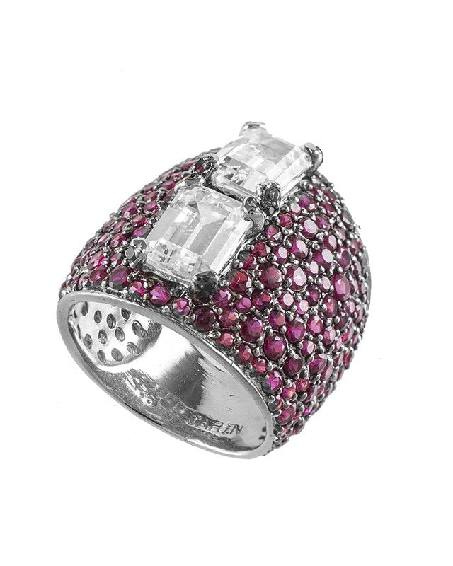 Ruby CZ Pave Cigar Band