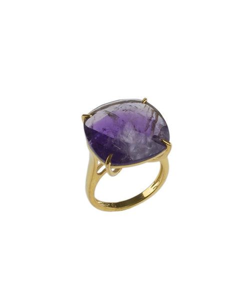 Amethyst Checkerboard Ring