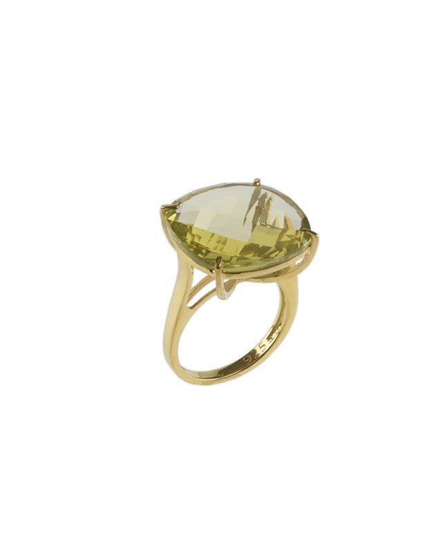 Lemon Quartz Checkerboard Ring