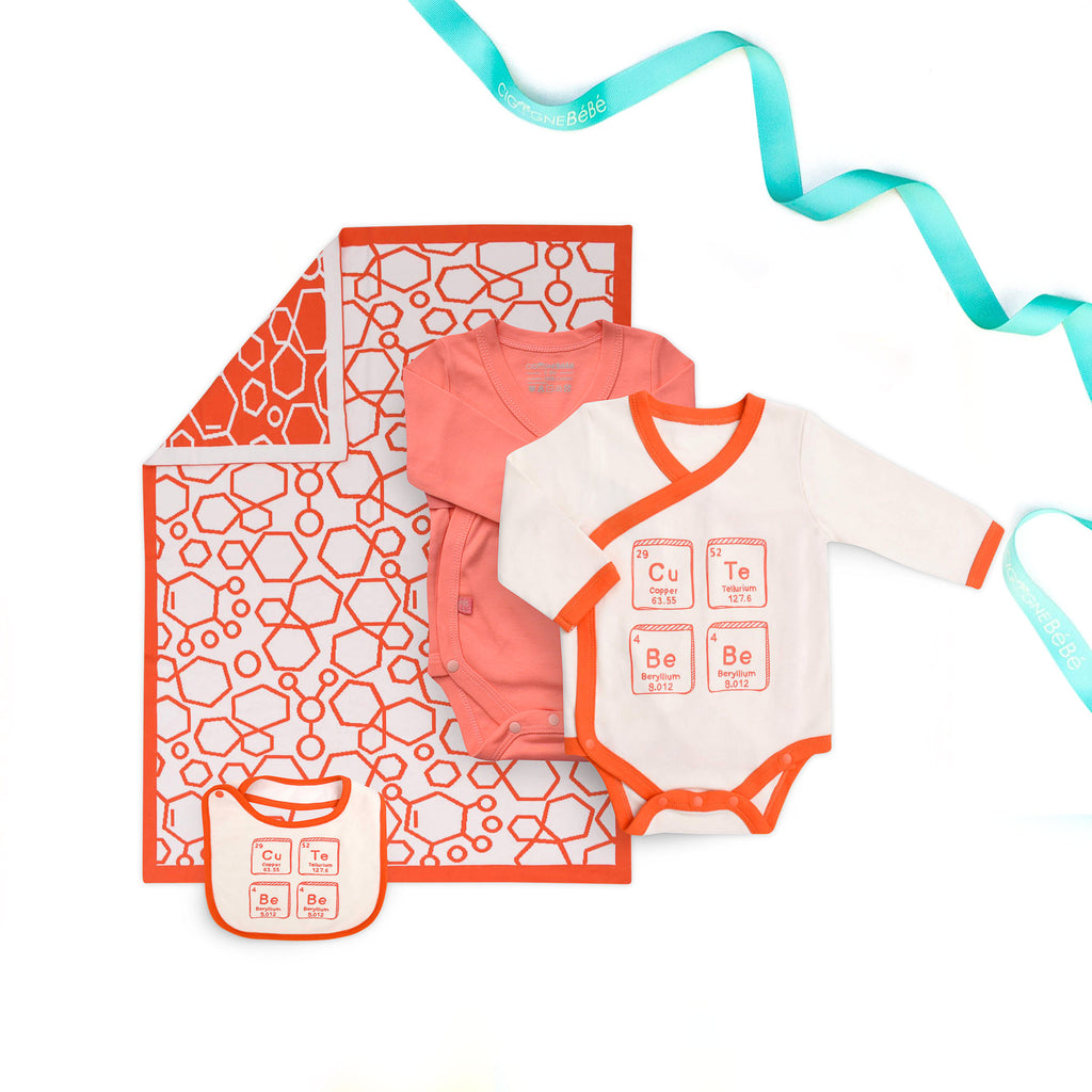 Scientist 4 pieces Baby Gift Set - orange