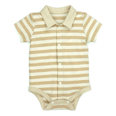 Stripe Polo Bodysuit made with Organic Cotton