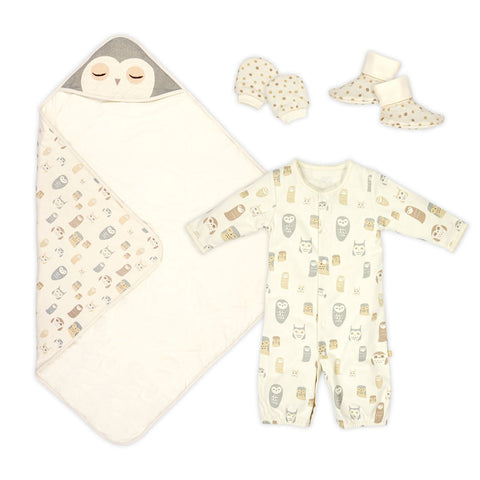 Night Owl Blanket, sleeping gown, booties and mitten set