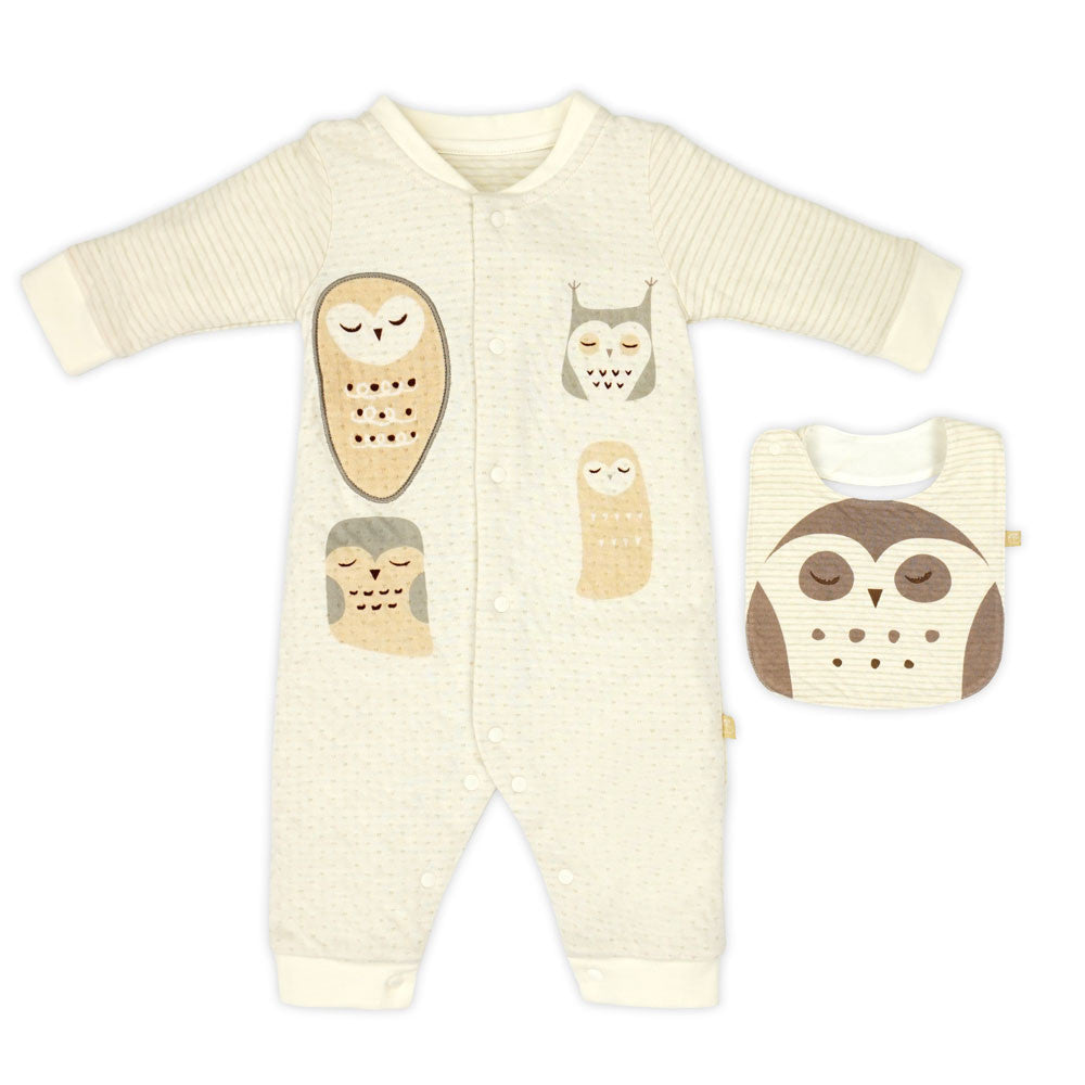 Night Owl Stripe Romper and Bib Set