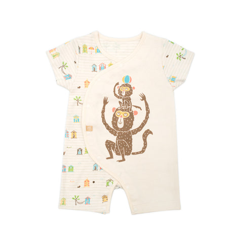 Organic Beach Monkey Short Sleeve Romper