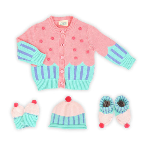 Cupcake Knitwear Gift Set: Cardigan, Knitted Gloves, Knitted Hat, Knitted Booties